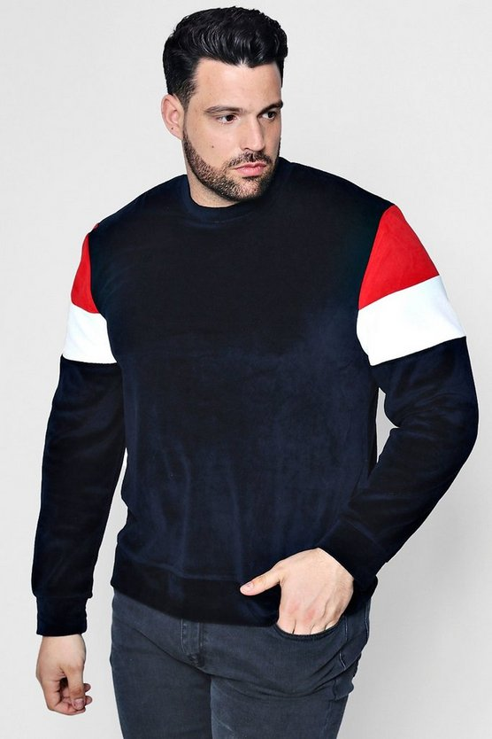 Big And Tall Long Sleeve Colour Block Sweat