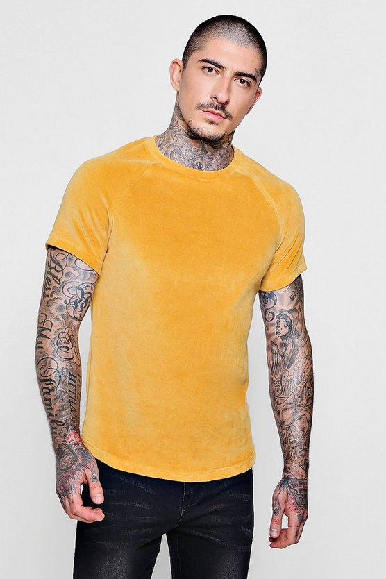 Gold Velour Curved Hem Tee
