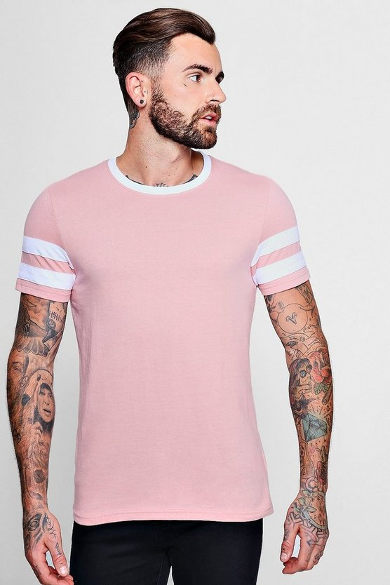 Mens Rose pink Contrast Panel Short Sleeve T-Shirt