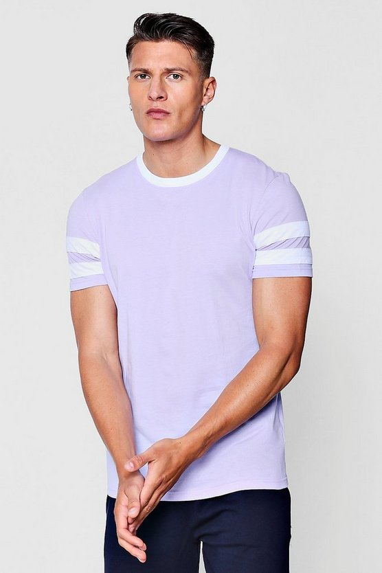 Mens Lilac Contrast Panel Short Sleeve T-Shirt
