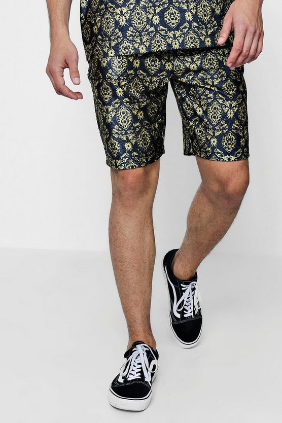 Baroque Print Velour Mis Length Short