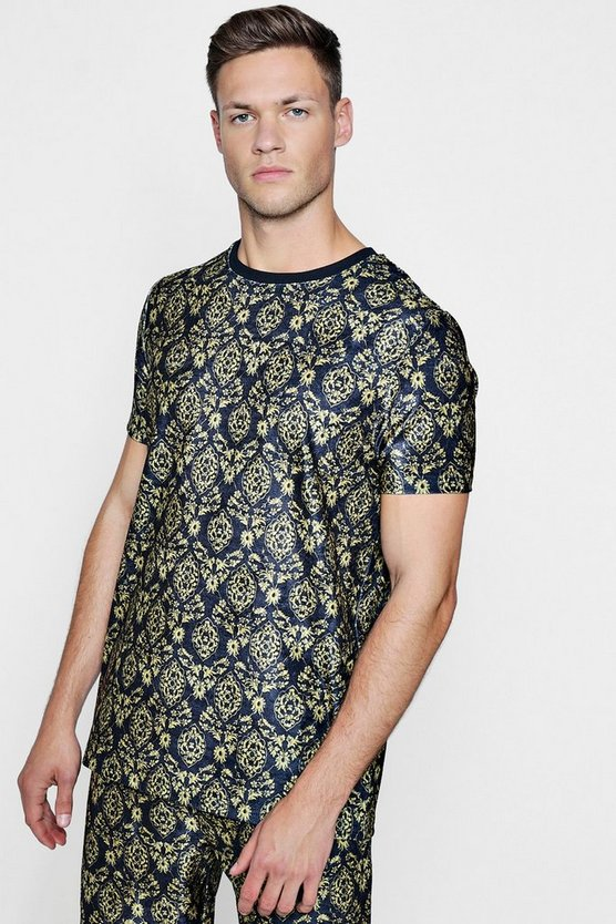 Baroque Print Velour T-Shirt