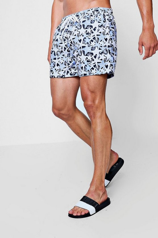 Starfish Print Mid Length Swim Short
