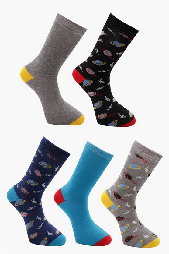 5 Pack Socks In Space Design