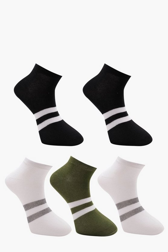 5 Pack Sports Stripe Ankle Socks