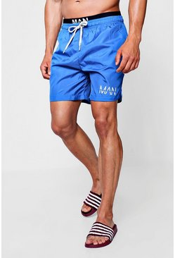 Mens Blue Swim Short With MAN Waistband Insert