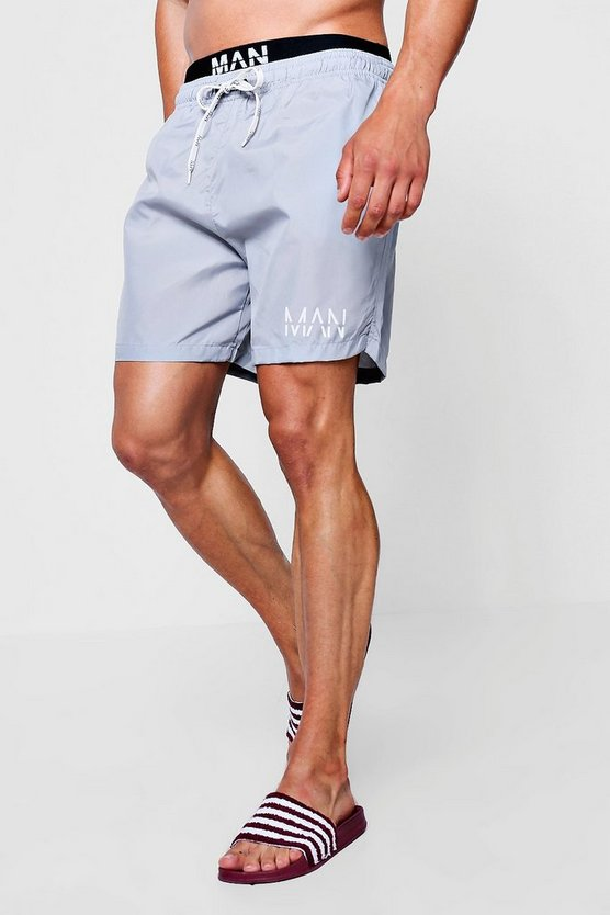 Mens Grey Swim Short With MAN Waistband Insert