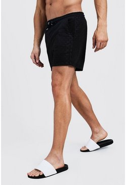 Mens Black All Over MAN Dash Mid Length Swim Short