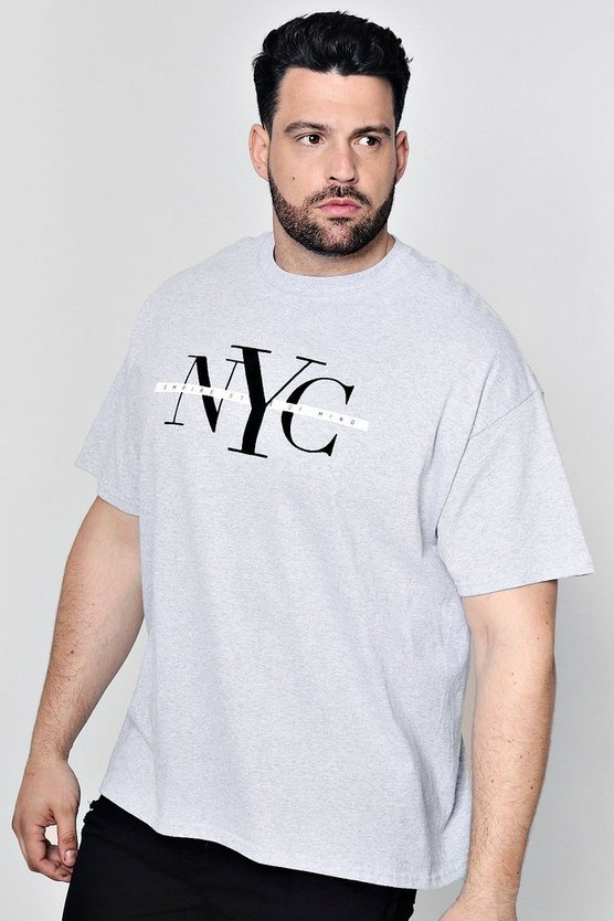 Big And Tall NYC Flock Print T-Shirt