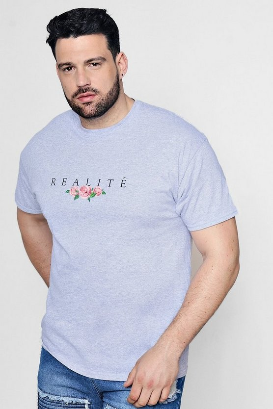 Big and Tall t-shirt con ricamo floreale