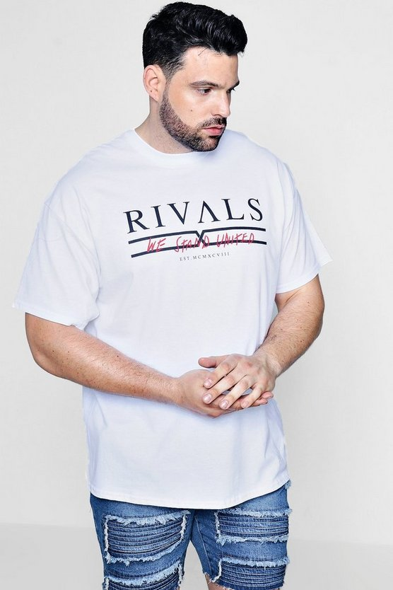 Big And Tall Rivals Slogan Print T-Shirt