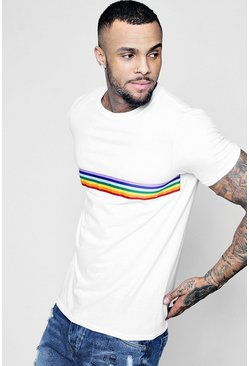 Mens White Crew Neck Tee With Rainbow Stripe