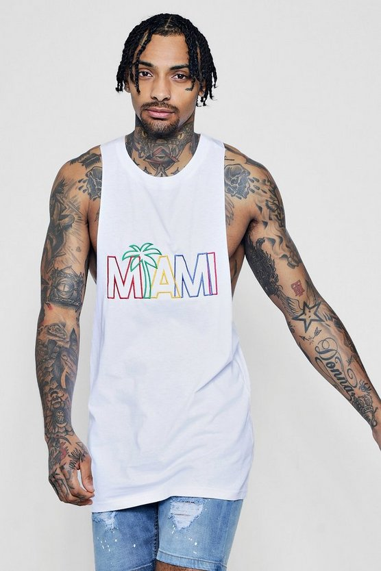 Miami Rainbow Embroidered Racer Back Vest