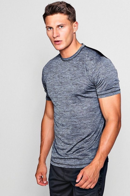 Mens Black Active Gym Slub Half/Half T-Shirt