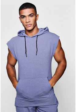 Mens Blue Active Sleeveless Gym Hoodie