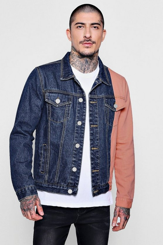 Colour Block Spliced Denim Jacket
