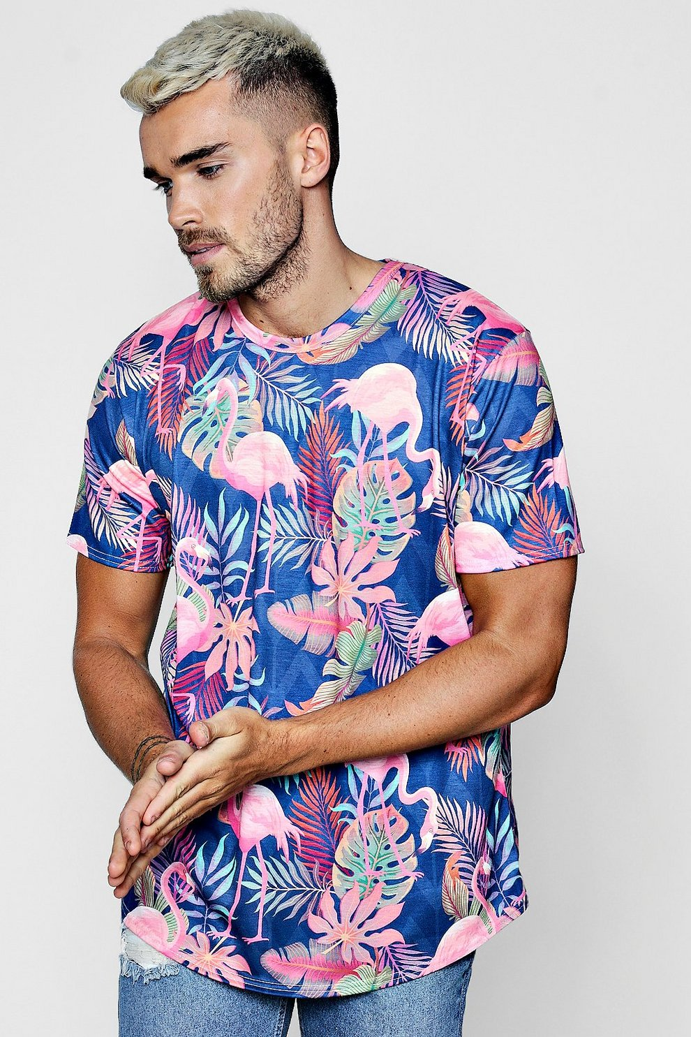 e1af782b32f Flamingo   Leaf Print Longline Curve Hem T-Shirt