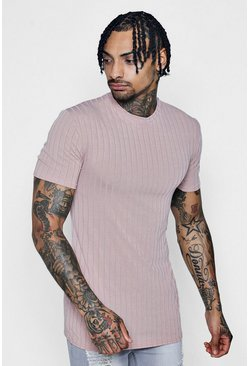Mens Pink Muscle Fit Chunky Rib T-Shirt
