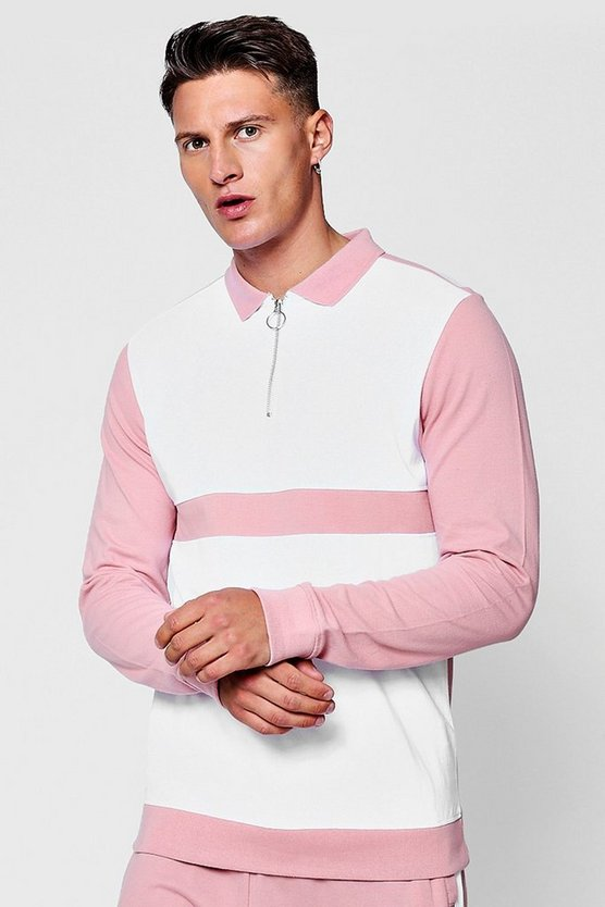 Long Sleeve Colour Block Pique Polo