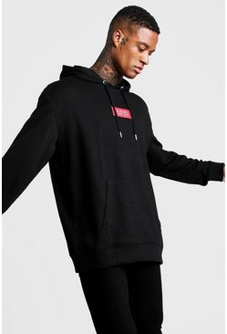 Mens Black Oversized MAN Red Box Hoodie