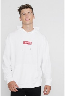 Mens White Oversized MAN Red Box Hoodie