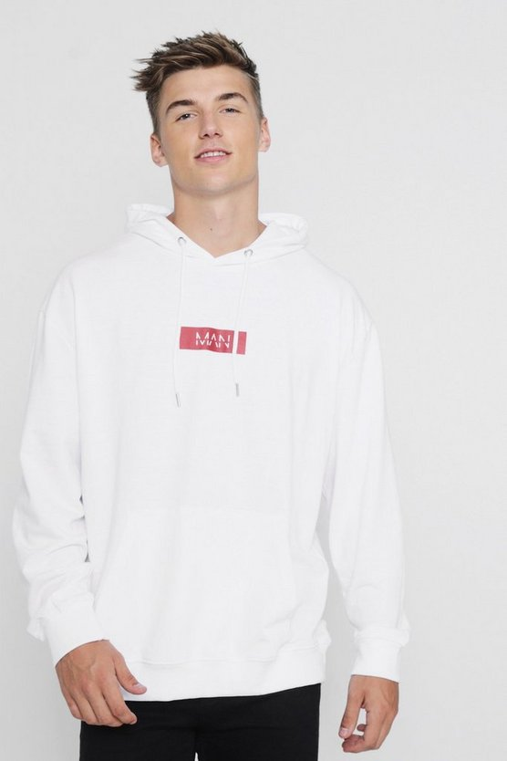 Oversized MAN Red Box Hoodie, White, Uomo