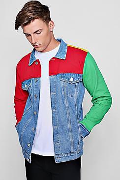 Men's Vintage Style Coats and Jackets Colour Block Denim Jacket $90.00 AT vintagedancer.com
