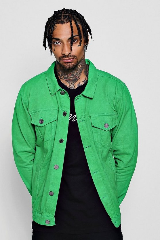 Mens Green Green Denim Western Jacket
