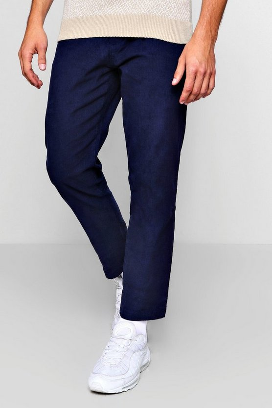 Mens Navy Slim Fit Cord Trouser