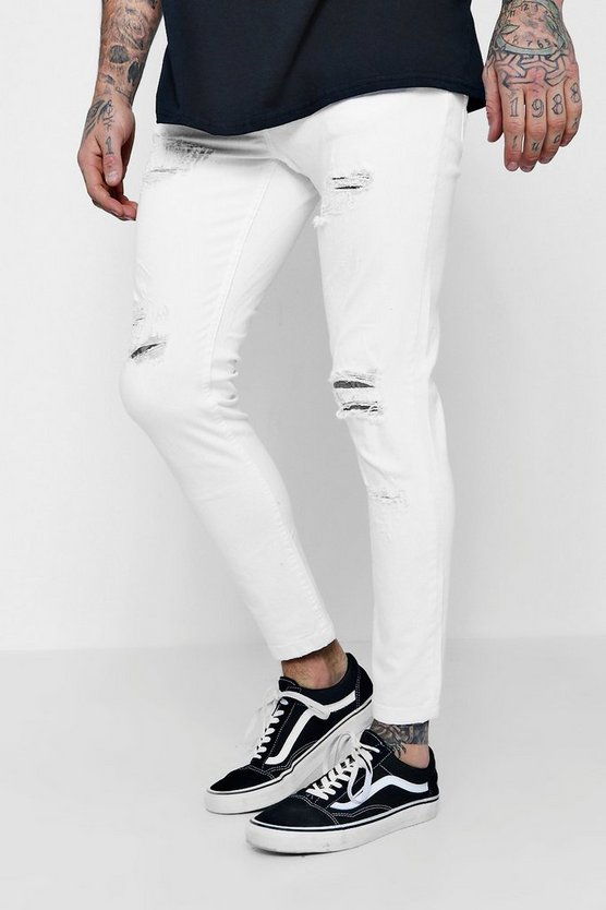 Skinny Fit White Denim Jeans with Distressing