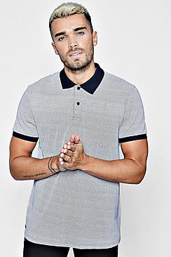 zig zag polo with contrast collar