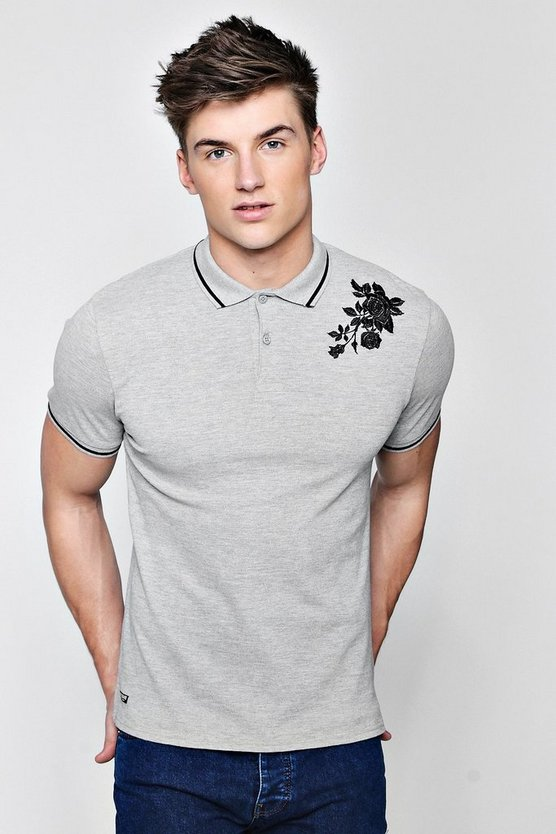 Jersey Polo With Embroidered Rose