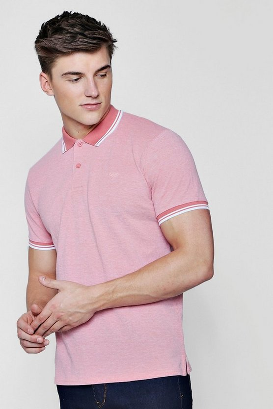Mens Coral Short Sleeve Pique Polo
