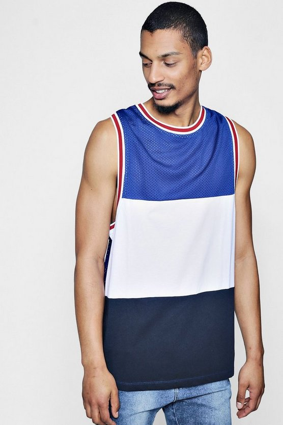 Mens Navy Colour Block Mesh Vest With Sports Trim