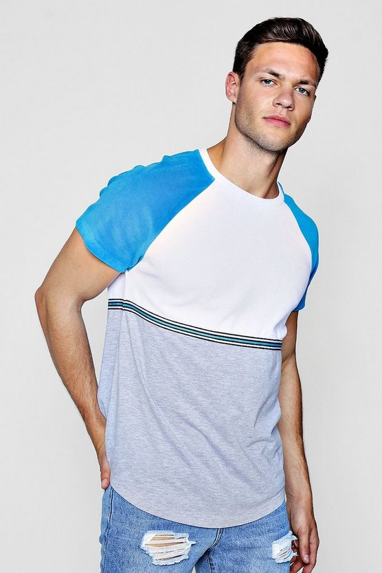Colour Block Velour T-Shirt With Taping
