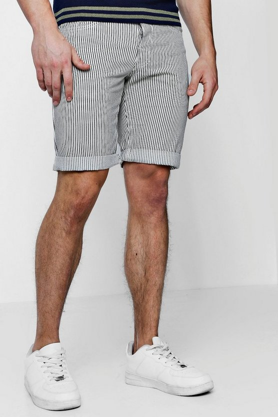 Slim Fit Striped Rigid Denim Short