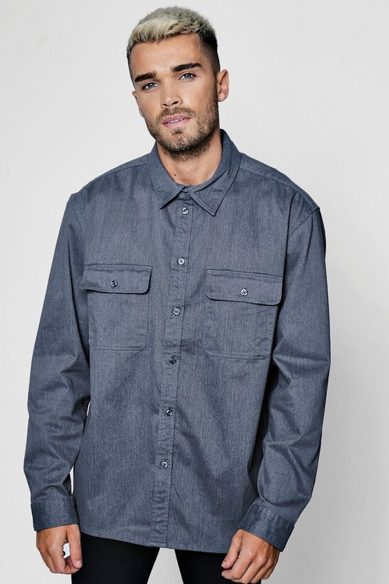 Grey Long Sleeve Double Pocket Denim Overshirt