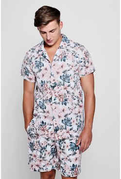 Mens Pink Floral Revere Short Sleeve Shirt