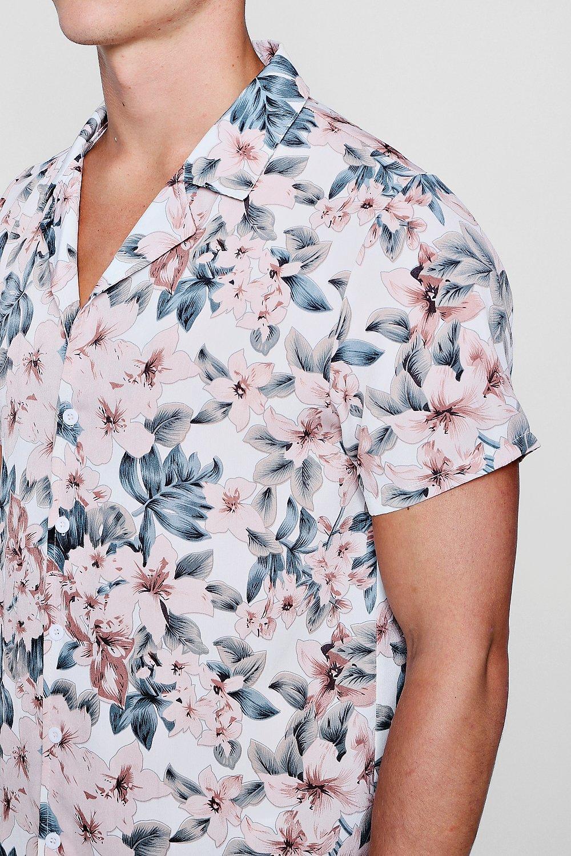 cortas solapa Conjunto camisa en estampado de floral de y cuello rosa mangas de con 5Rqq8xI