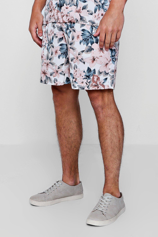 Conjunto ajustable rosa cortos pantalones con de en cordón con estampado floral rwSRqrnA