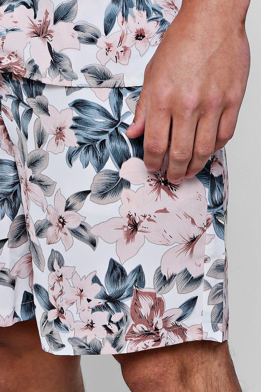 en ajustable de Conjunto cortos pantalones rosa con floral estampado cordón con wzwdSq1X