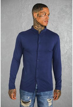 Mens Navy Muscle Fit Long Sleeve Grandad Jersey Shirt