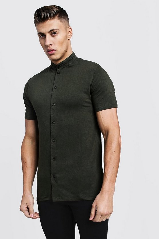 Mens Khaki Muscle Fit Short Sleeve Grandad Jersey Shirt