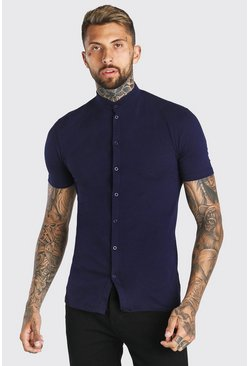 Navy Muscle Fit Short Sleeve Grandad Jersey Shirt