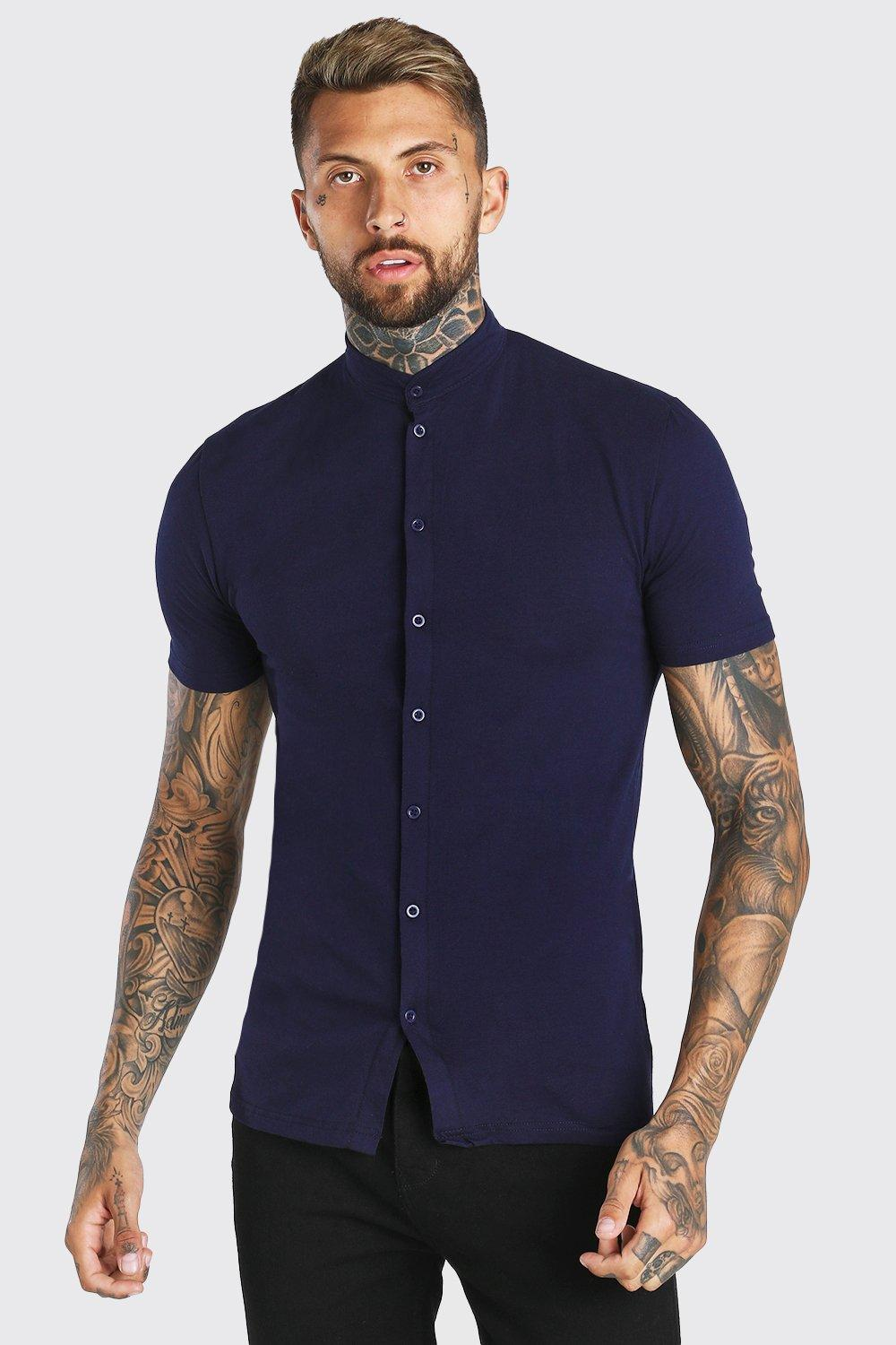 417857c5 Mens Navy Muscle Fit Short Sleeve Grandad Jersey Shirt. Hover to zoom