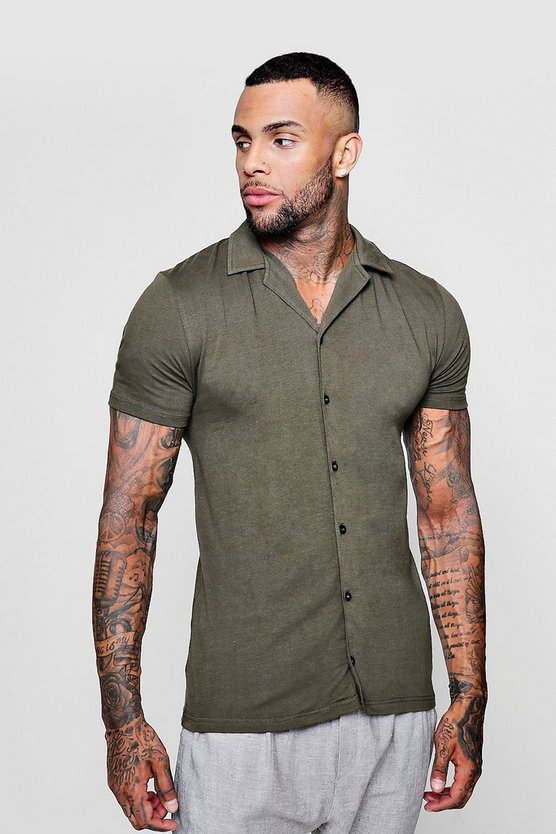 Muscle Fit Short Sleeve Revere Jersey Shirt