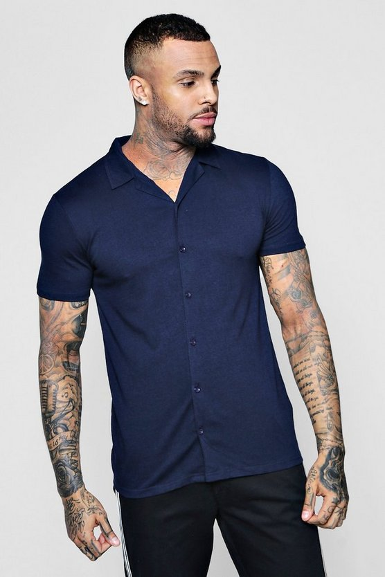 Mens Navy Muscle Fit Short Sleeve Revere Jersey Shirt