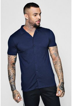 Navy Muscle Fit Short Sleeve Revere Jersey Shirt