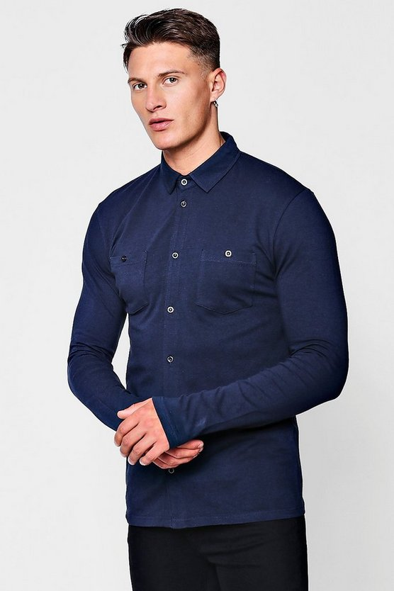 Muscle Fit Long Sleeve Jersey Shirt With Double Pockets