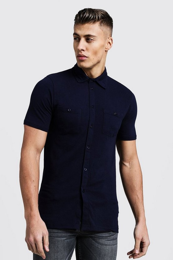 Mens Navy Muscle Fit Short Sleeve Jersey Shirt With Double Pockets